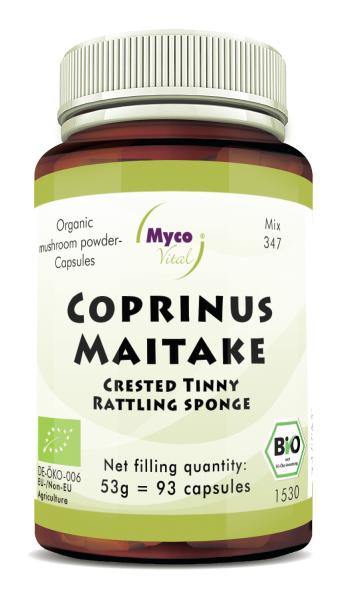 Coprinus-Maitake Organic mushroom powder capsules (blend 347)