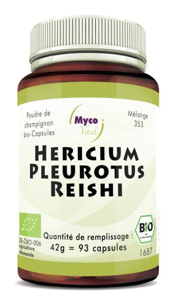 Hericium-Pleurotus-Reishi Capsules de poudre de champignons biologiques (mélange 353)