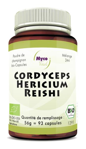 Cordyceps-Hericium-Reishi Capsules de poudre de champignons biologiques (mélange 344)