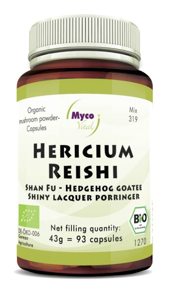 Hericium-Reishi Organic mushroom powder capsules (blend 319)