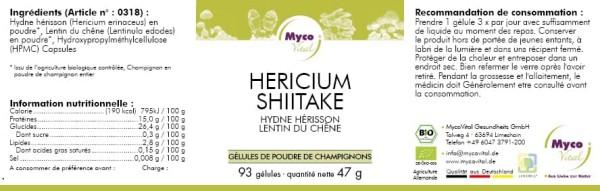 Hericium-Shiitake Capsule di polvere di funghi organici (miscela 318)