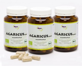 3er Pack BIO Agaricus blazei murrill (ABM) Pilzpulver-Kapseln
